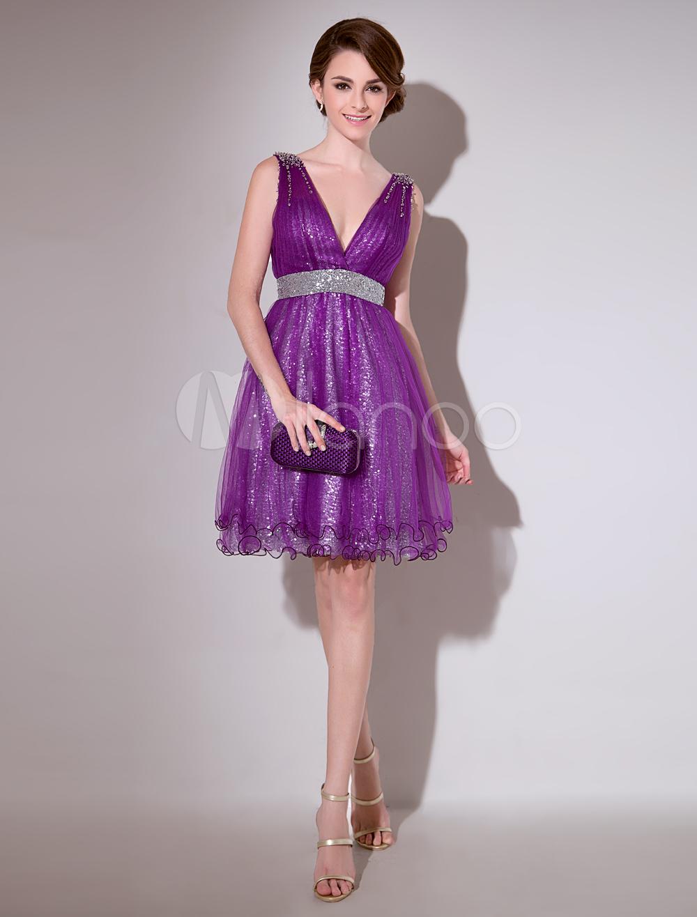 Lavender A-line Sequin V-Neck Sleeveless Tulle Pretty Cocktail Dress ...