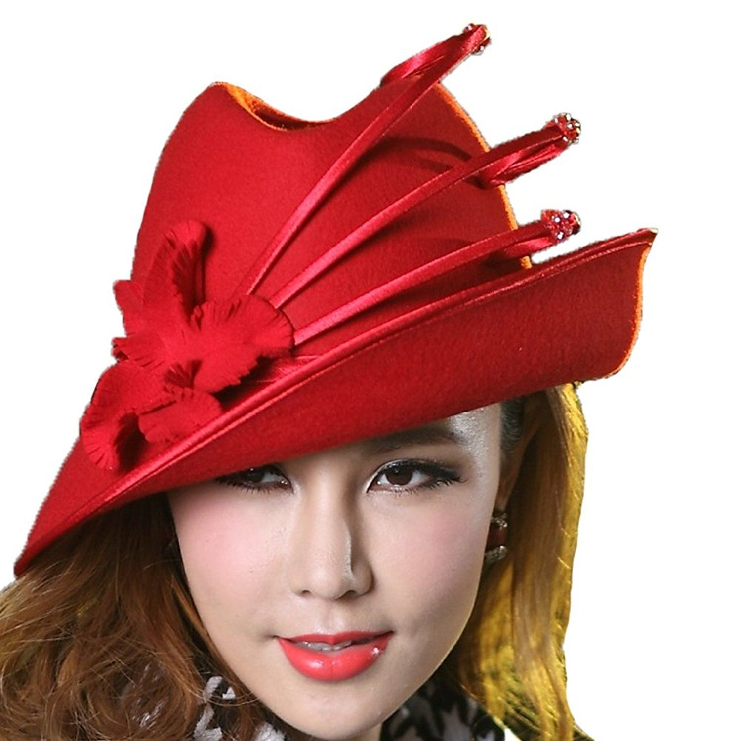 da8b4a5a164 June s Young Fashion Wool felt Hats Women winter Hat Fedoras New Arrival  (Red) at Amazon Women s Clothing store