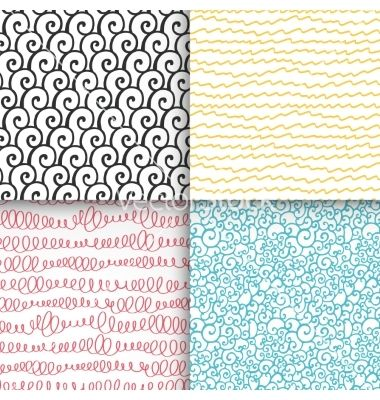 Abstract doodle seamless patterns set vector - by ireneart on VectorStock®