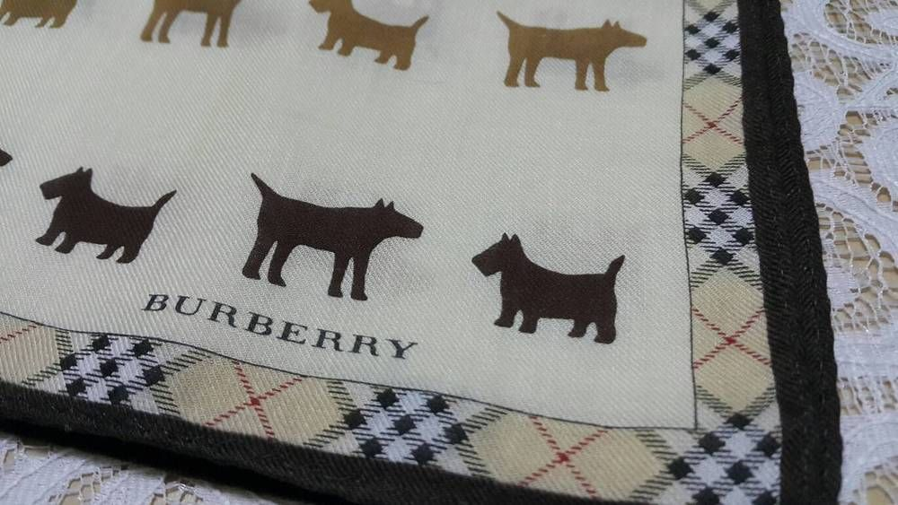 Auth Small ScarfBurberry Handkerchief Dogs Frame Trim Collectible 18.5