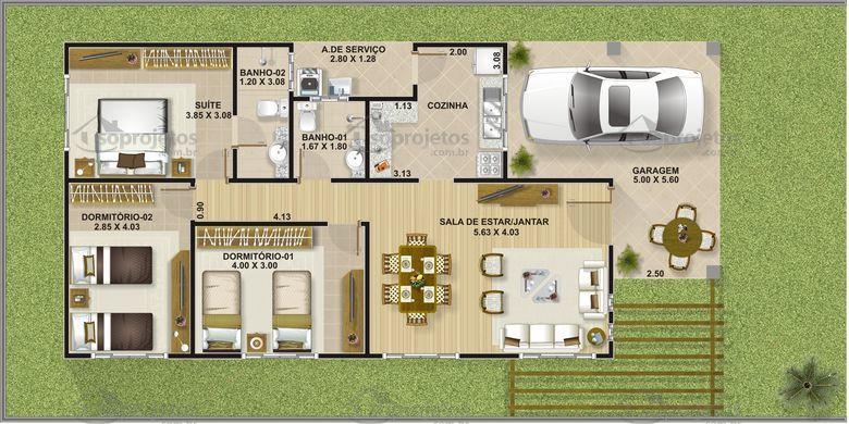 Plantas de casa terreas 3 quartos 15x20 pesquisa google for Jardins mangueiral planta 3 quartos