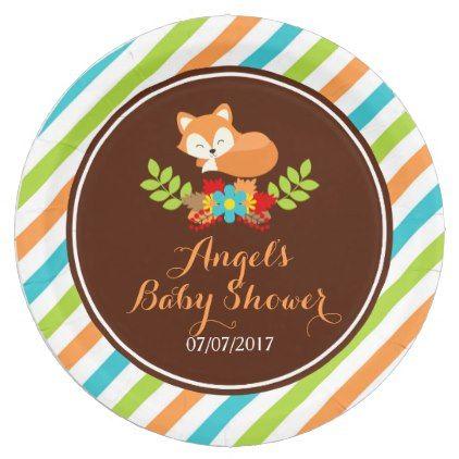 sc 1 st  Pinterest & Autumn Fall Sleeping Fox Blue Baby Shower Paper Plate