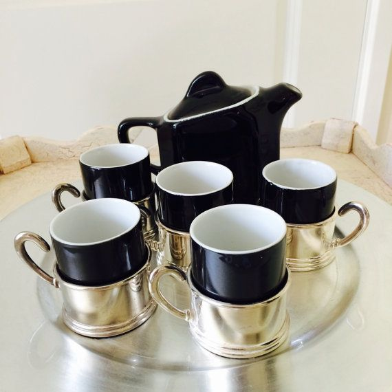 Black Demitasse Set Demitasse Cups Silver Plate by ACertainFeel