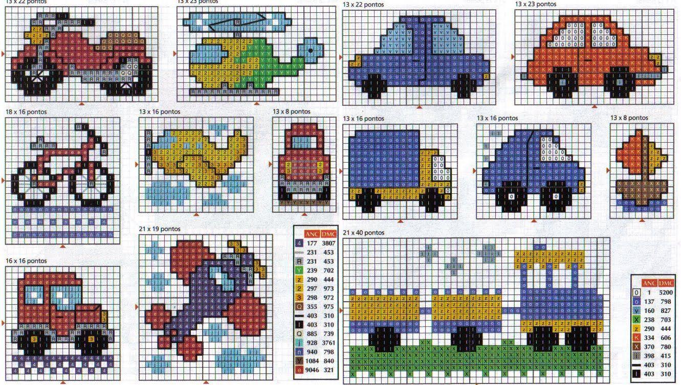 Sa-Si-Sol: carros | Punto de cruz | Pinterest | Cross stitch ...