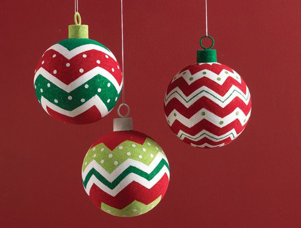 "RAZ 5"" Flocked Chevron Ball Ornament Set of 3  RAZ 2014 Snow Biz Collection  #trendytree #raz"