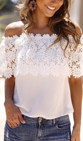 5c3481c91a Crochet off shoulder top | Style | Fashion, Blouses for women, Blouse