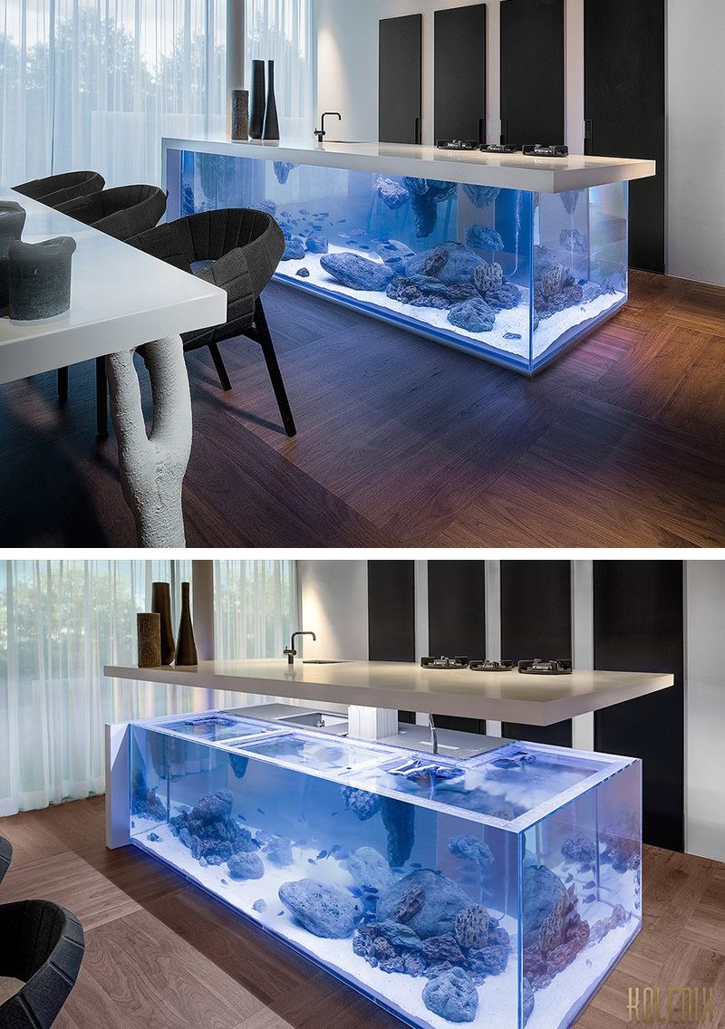 dutch interior designer robert kolenik has created a kitchen island that includes an aquarium. Black Bedroom Furniture Sets. Home Design Ideas