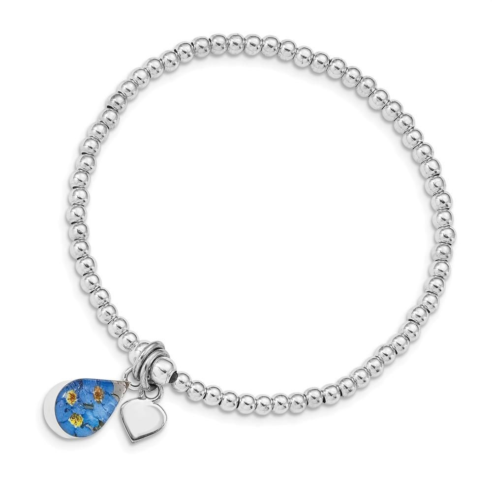 Sterling Silver Shrieking Violet Real Forget Me Not Beaded