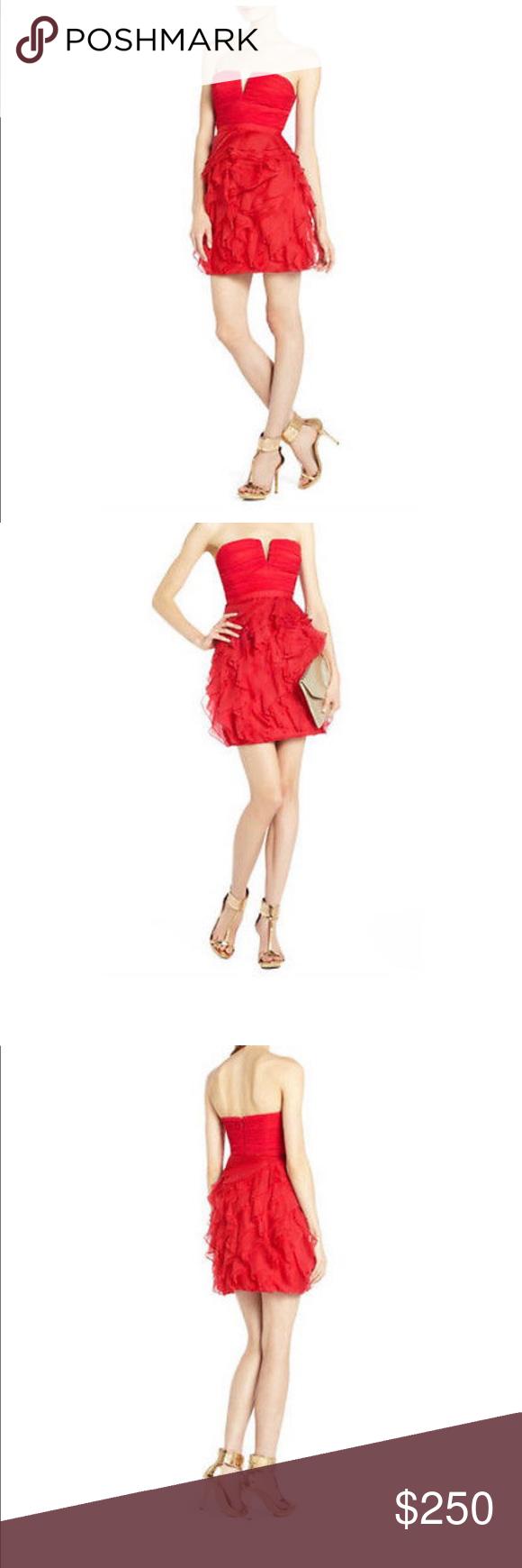 Bcbgmaxazria Women S Red Strapless Ruffle Dress Strapless Ruffle Dress Ruffle Dress Dresses [ 1740 x 580 Pixel ]