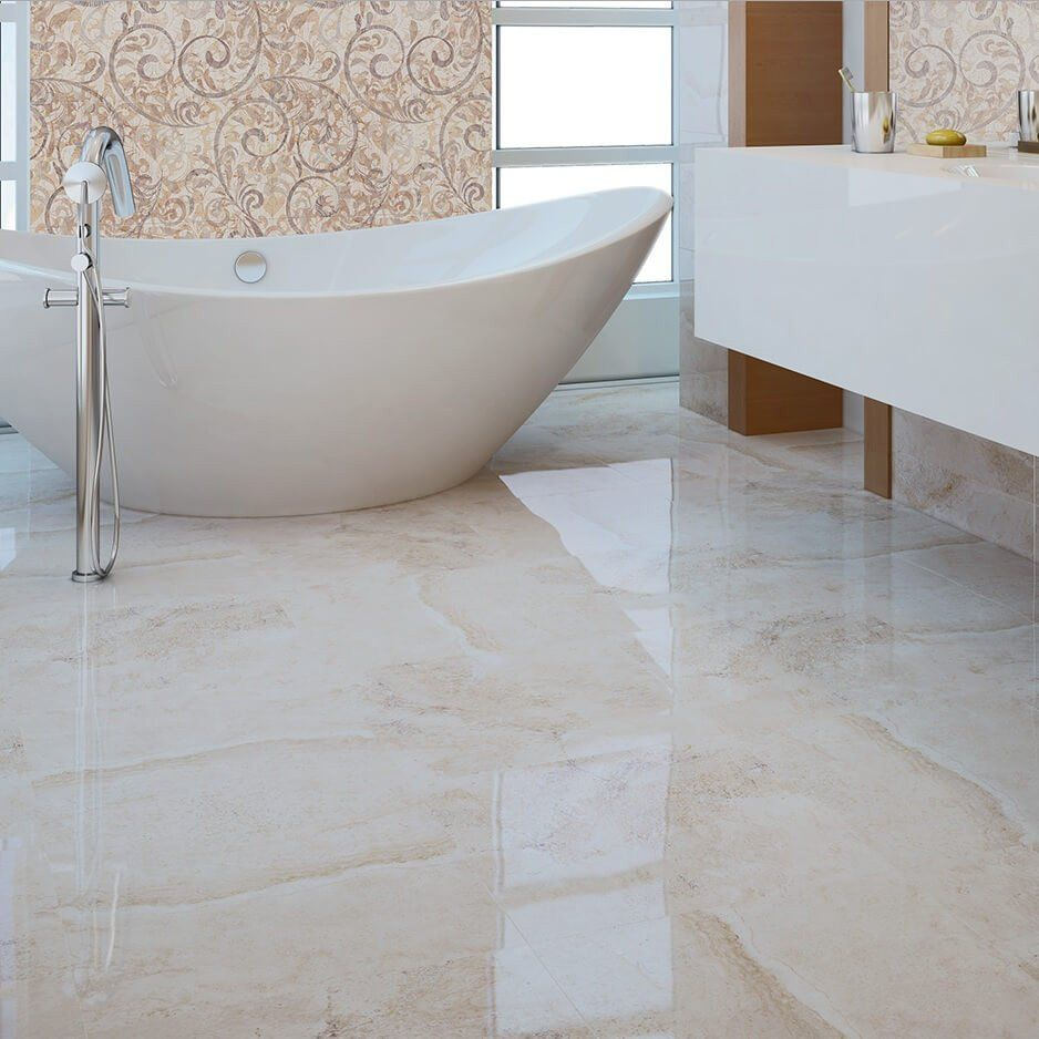 Flavia cream marble effect bathroom floor tiles with stylish flavia cream marble effect bathroom floor tiles with stylish bathtub dailygadgetfo Choice Image