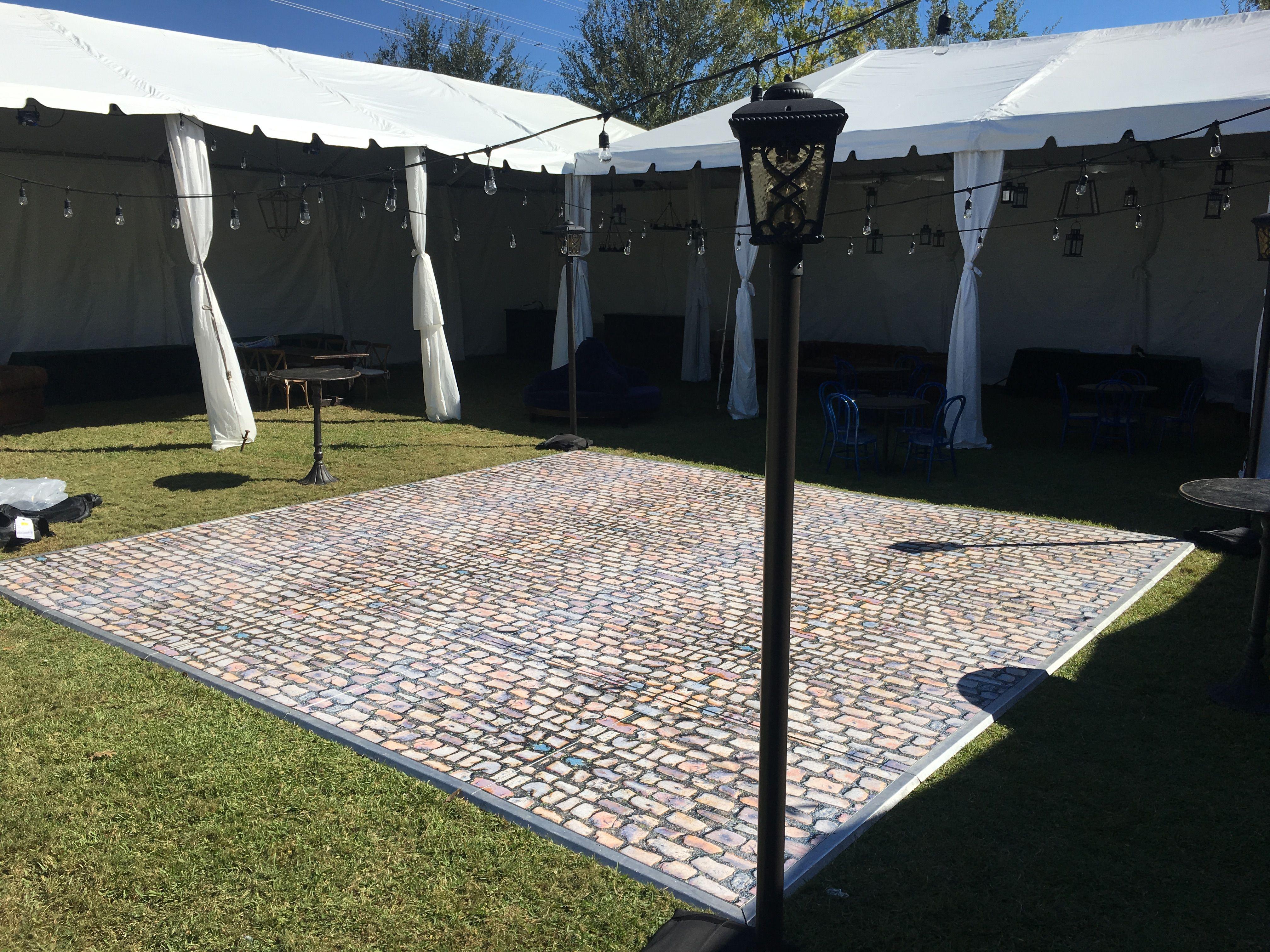 Charleston wrapscobblestone custom vinyl dance floor in