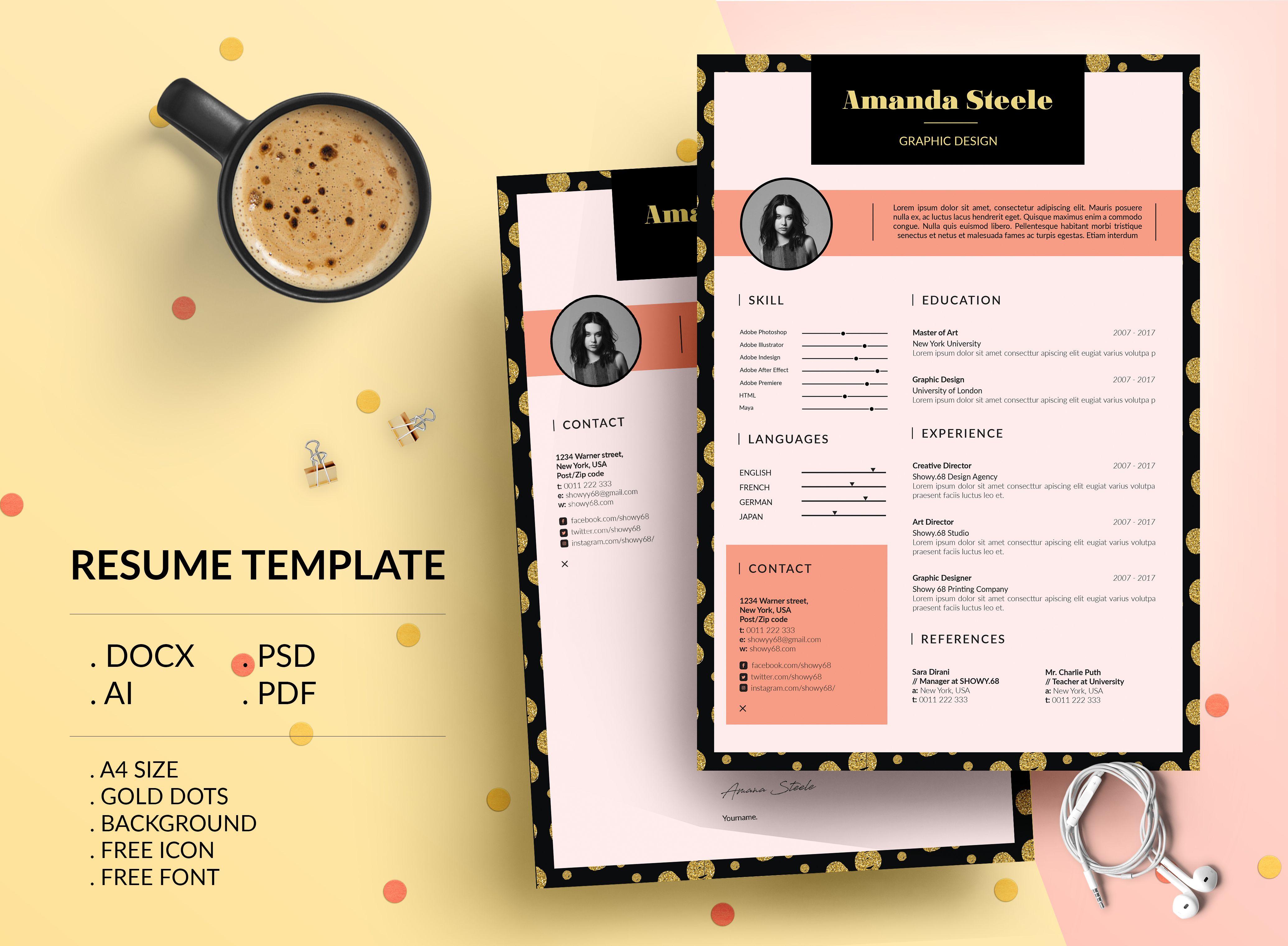 Check Out My @Behance Project: U201cGold Dots Resume Template / CV Templateu201d  Https://www.behance.net/gallery/52587189/Gold Dots Resume Template CV  Template