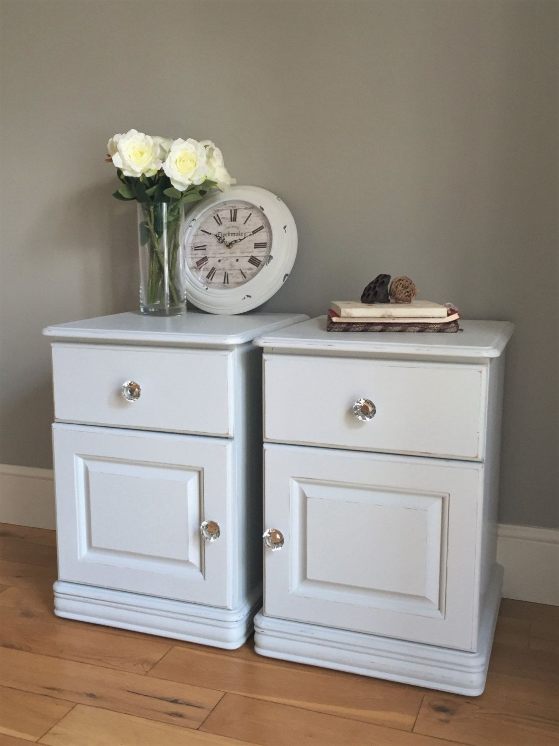 Light Grey Bedside Table: Pair Of Pine Painted Bedside Tables