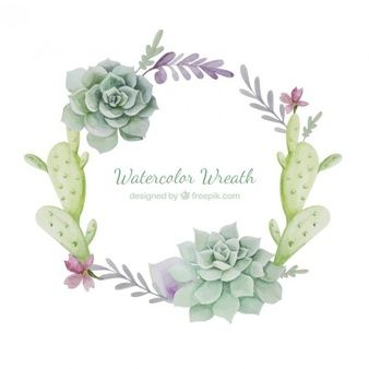 Succulents Vectors Photos And Psd Files Wreath Watercolor
