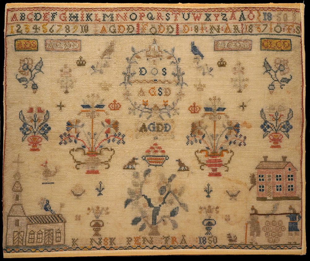 Antique SWEDISH Sampler dated 1850 with CHURCH and TREE of KNOWLEDGE