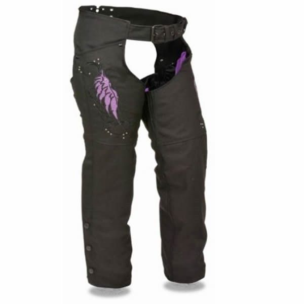 XS Black Milwaukee Women MOTORCYCL Reflective Wing /& Rivet Detail Textile CHAP in Purple /& Black