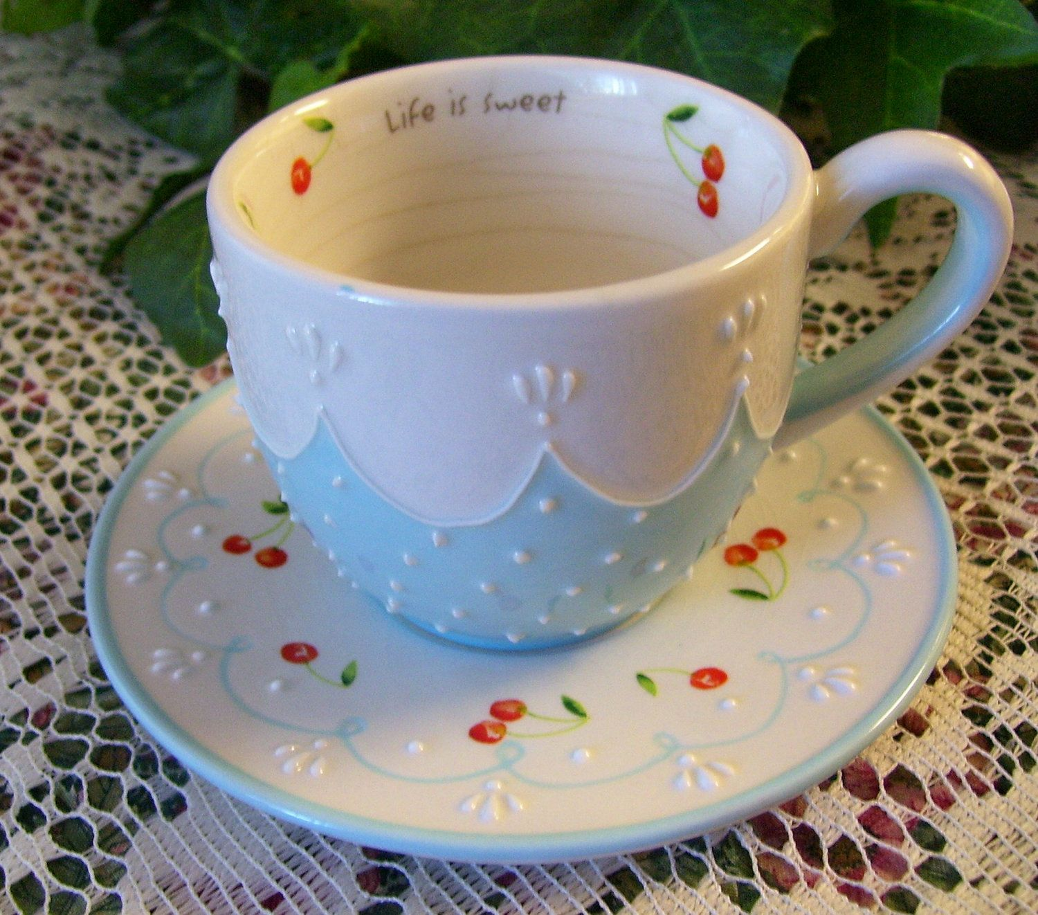 Vintage Teacup & Saucer Blue, White and Red Cherries 'Life is Sweet' REDUCED PRICE. $5.50, via Etsy.