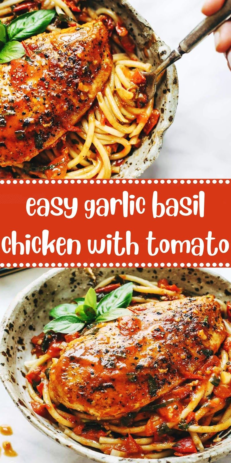 Easy Garlic Basil Chicken With Tomato Butter Sauce