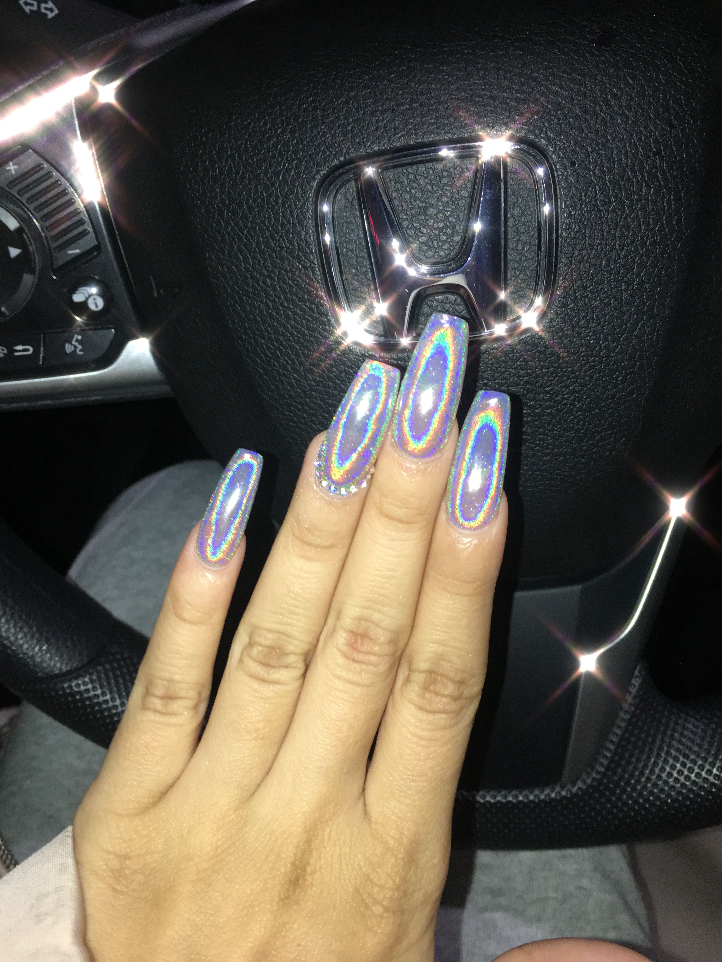 Holographic Long Coffin Shape Acrylic Nails