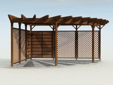 Half Circle Pergola Over The Rock Patio In Side Yard