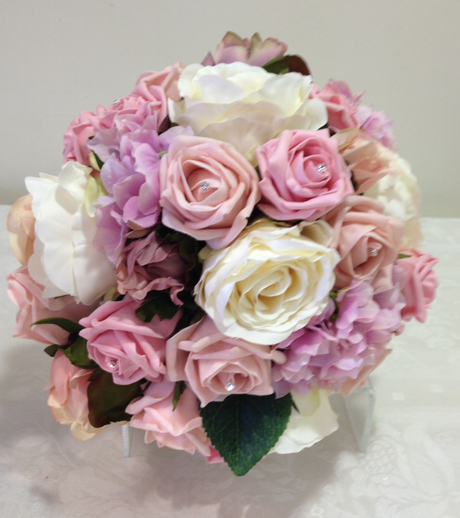 Silk Posy Of Ivory And Dusky Pink Peonies Dusky Pink And Pale Pink