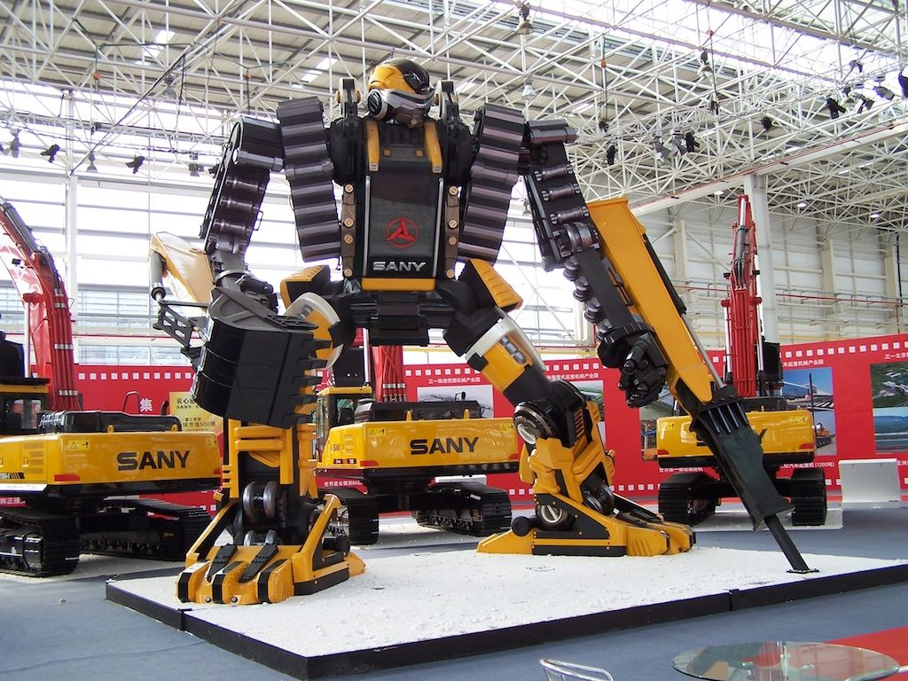 Transformer-style SANY concept excavator robot on display in Lingang, China. | Miscellaneous ...