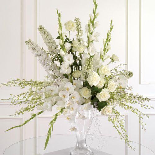White Altar Arrangement Church Flower Arrangements White Flower Arrangements Flower Arrangements