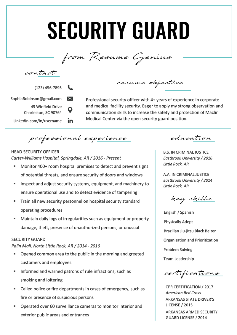 Security Guard Resume Sample & Writing Tips Resume examples