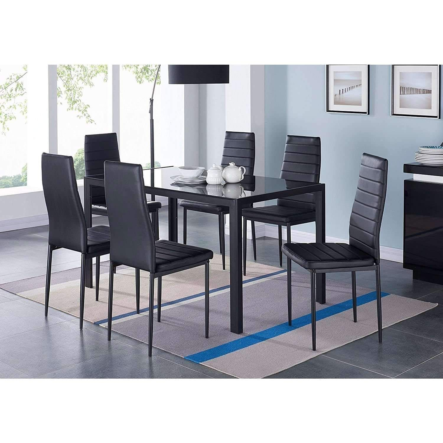 6b708f6233 Modern 7-Piece Dining Set with Glass Top Table in 2019 | Products ...