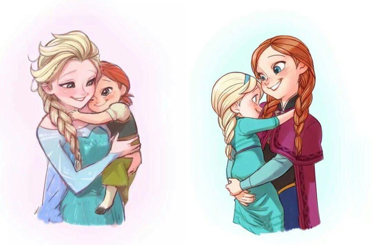 Awww.... Elsa with little Anna , little Elsa With Anna