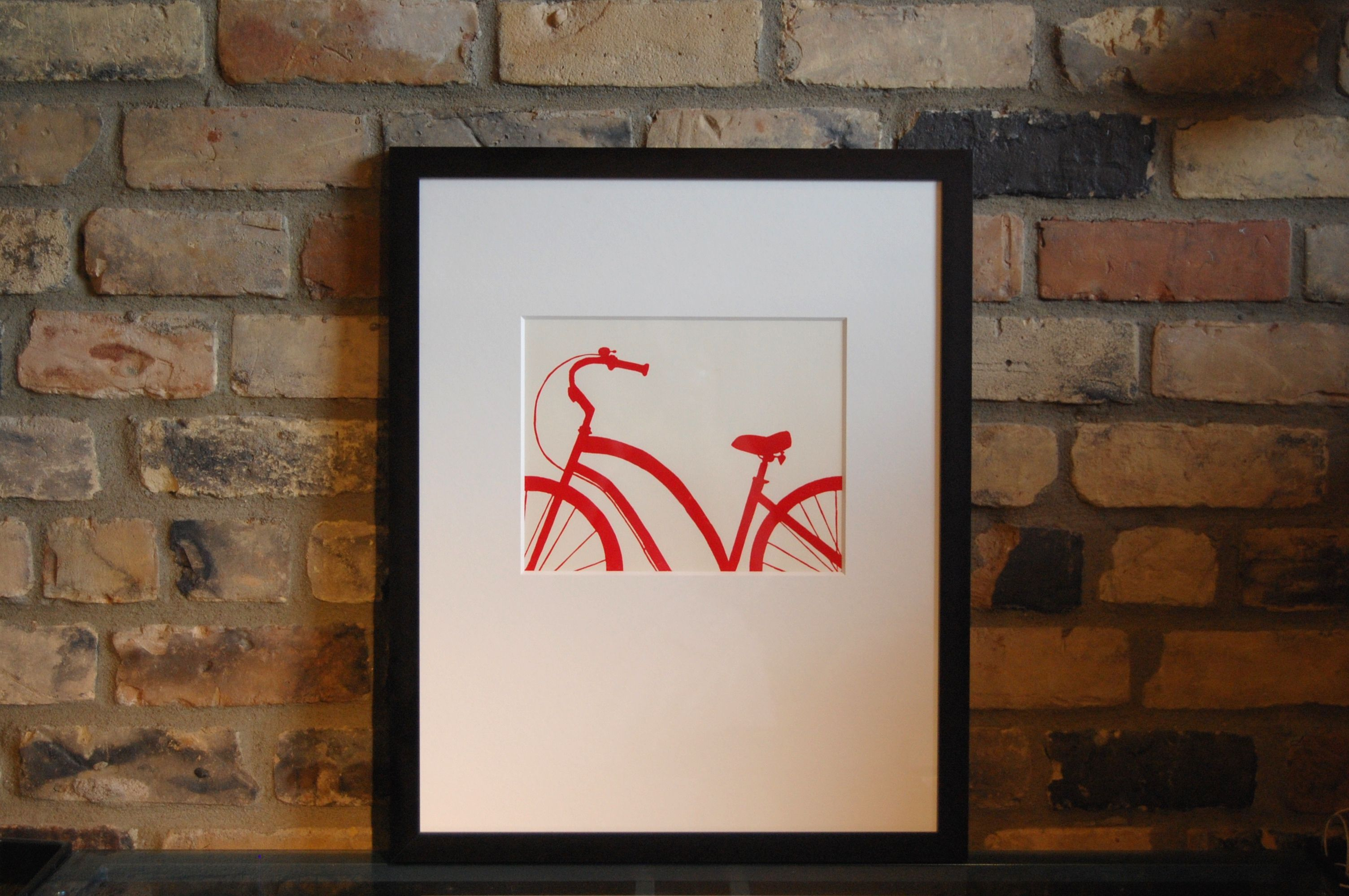 This red bike print has a happy little bell perched on its handle bars, ready to announce your presence. Perfect gift for that bike rider in your life!