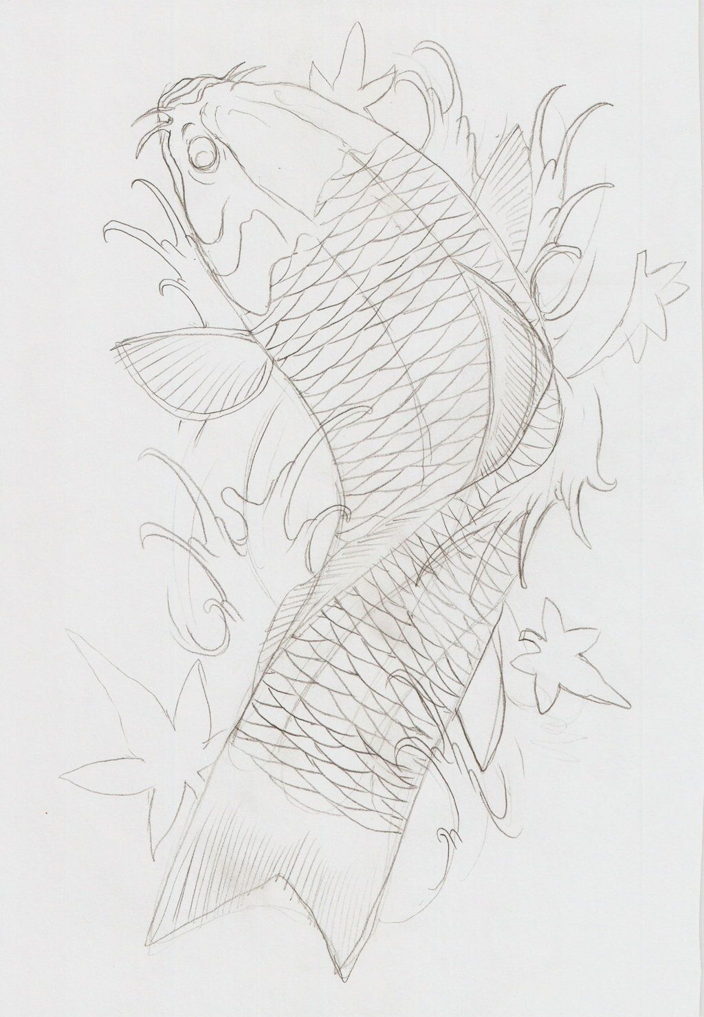 koi fish tattoo outline designs
