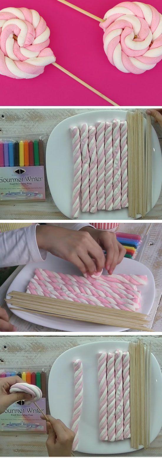 Marshmallow wirbelt DIY Baby Shower Ideen für ein Mädchen | Einfache Geburt ...  #babyparty #... #babyshowerparties