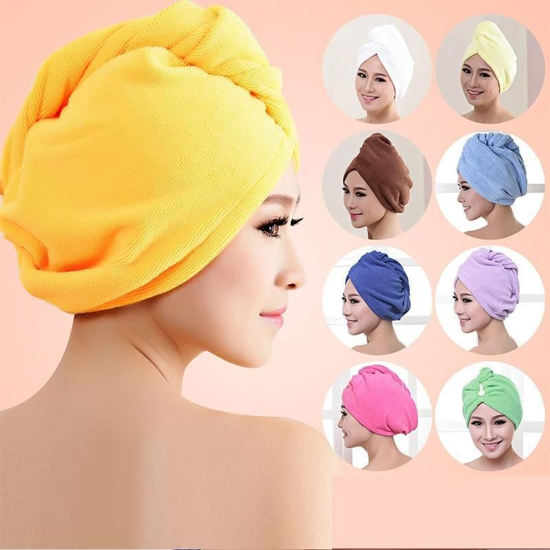 Absorbent Wrapped Turban Towel Shower Color Bathing Cap Hat Microfiber Hair
