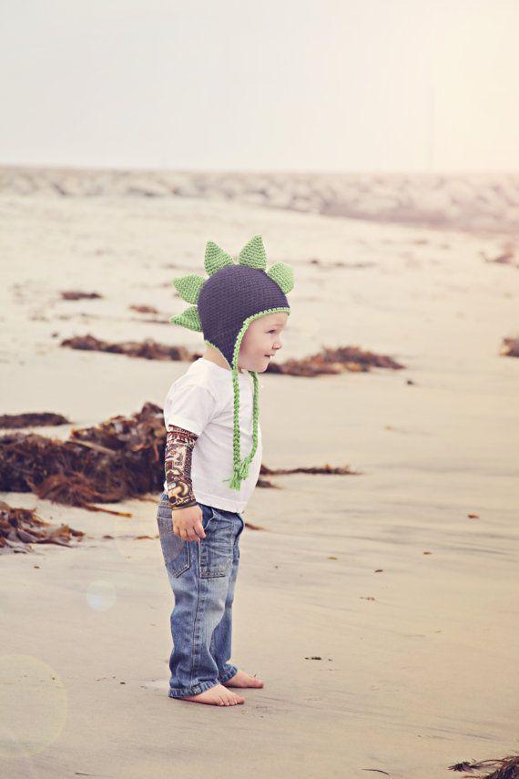 Boys Crochet Earflap Dinosaur Mohawk Hat by KerensHatBoxBoutique ...