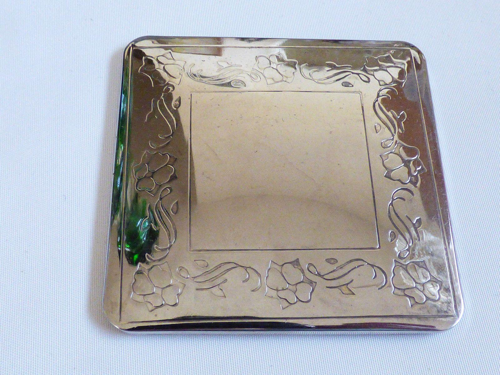 Vtg Silver Plated Floral Design Compact Pocket Square Mirror | eBay