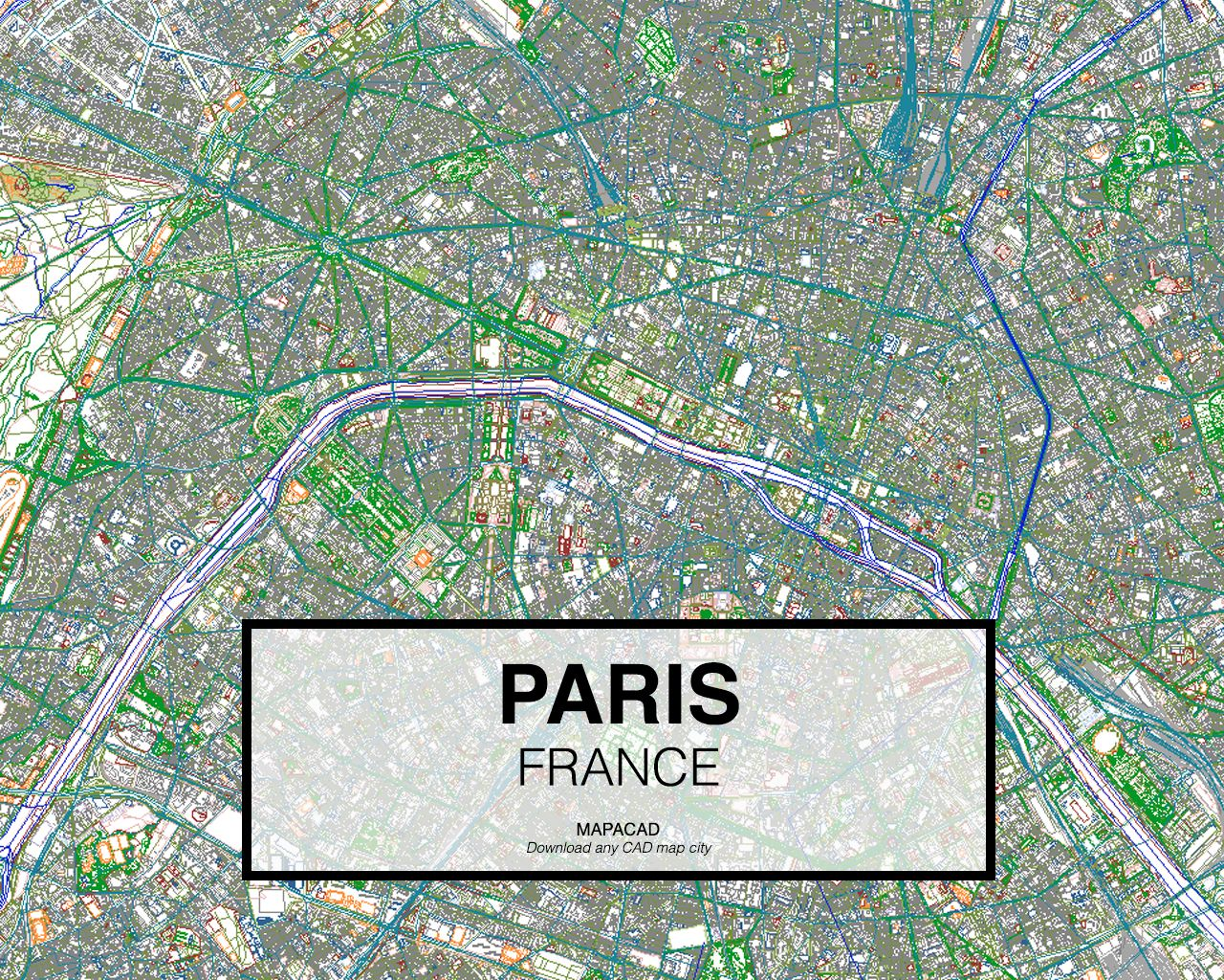 Paris France Download CAD Map in dwg to use in Autocad Maps