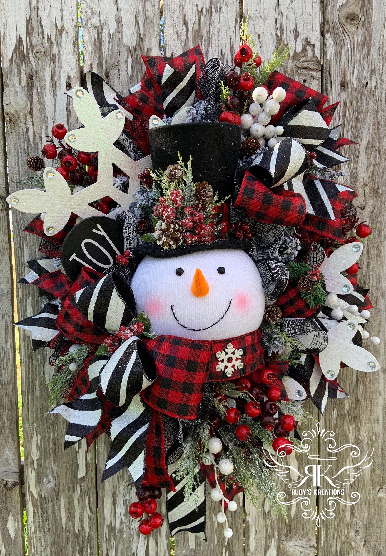 Christmas Wreath Snowman Wreath Buffalo Plaid Wreath Plaid | Etsy