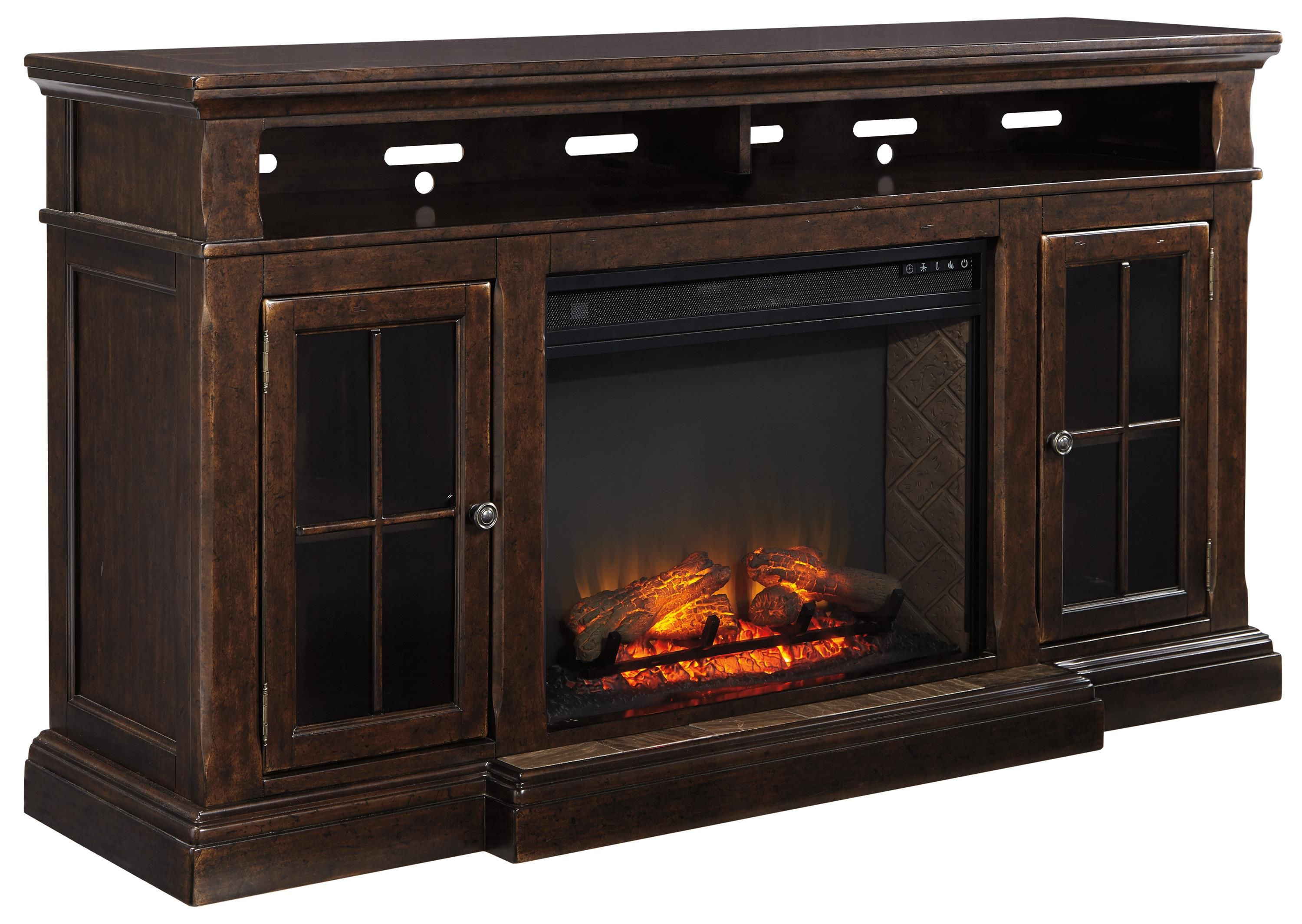 Roddinton Extra Large Tv Stand W Fireplace Insert By Signature