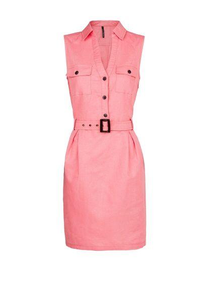 MANGO - Linen cotton-blend shirt dress