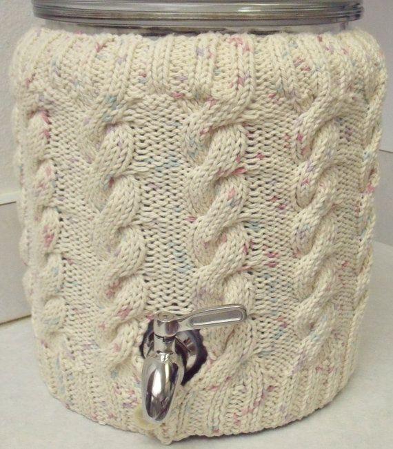 Knitted Two Gallon Kombucha Tea Jar Ecru Fleck Cable Sweater Cozy
