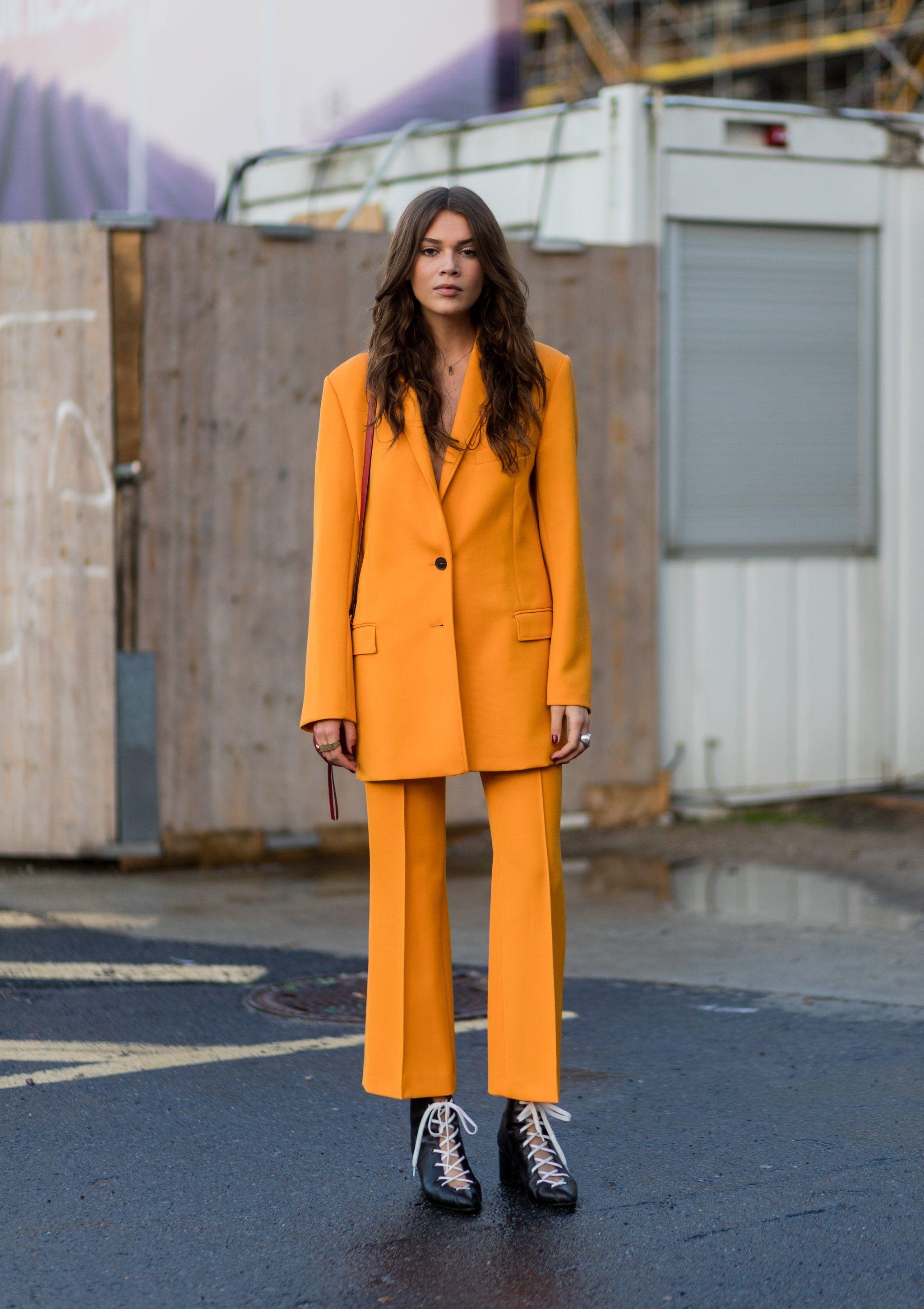 e1fa4691 Tangerine Suit Ladies Trouser Suits, Formal Pant Suits, Yellow Suit, Yellow  Blazer,