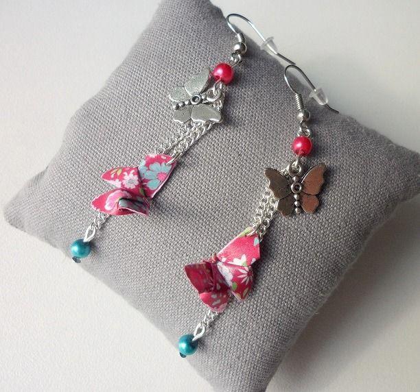 """Boucles d'oreille argentées pendantes """"mes jolis papillons en origami"""" : Boucles d'oreille par candy-co"""