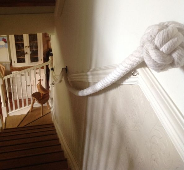 Cotton Rope Stairs Handrail With Blacksmith-Made Brackets