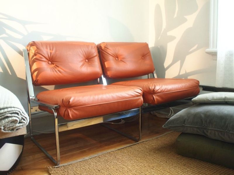 Retro Orange Vinyl Sofa Vintage Chrome '70s Sofa Or Loveseat, With Orange Vinyl