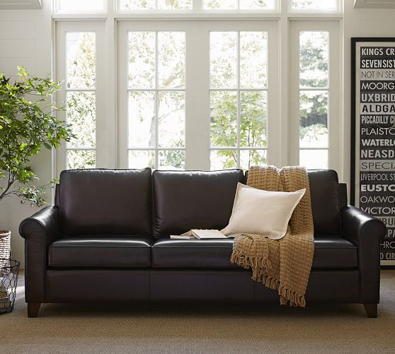 Cameron Roll Arm Leather Sofa Living Room Leather White