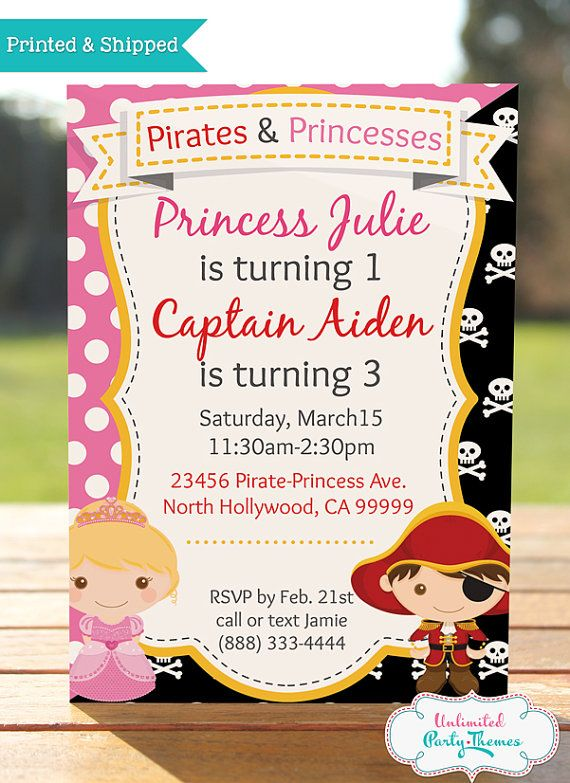 Pirate And Princess Invitation Princess By Unlimitedpartythemes