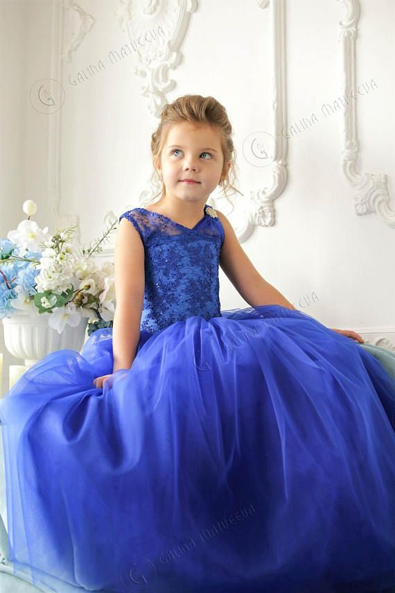 18cf30e5a Blue Flower Girl Dress with brooch - Birthday Wedding party Bridesmaid  Holiday Blue Tulle Lace Flowe