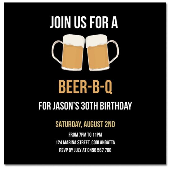 From 1 each Cheers Beers Personalised Invitations from Paper