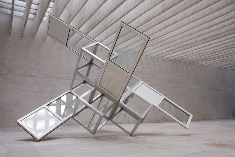 floresenelatico:  Sirous Namazi,Untitled, 2007, Aluminium, glass, pvc doors, 410x500x500cm, Welfare Fare Well, Venice biennale, Nordic pavillon